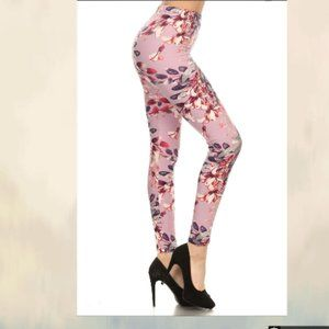 Floral printed high waisted knit legging